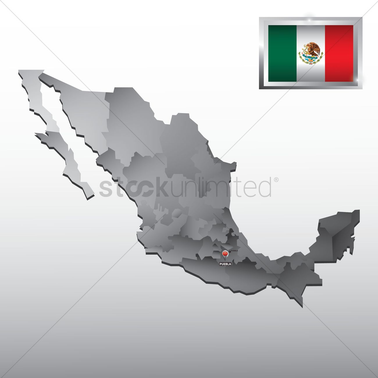 Navigation Pointer Indicating Puebla On Mexico Map Vector Image