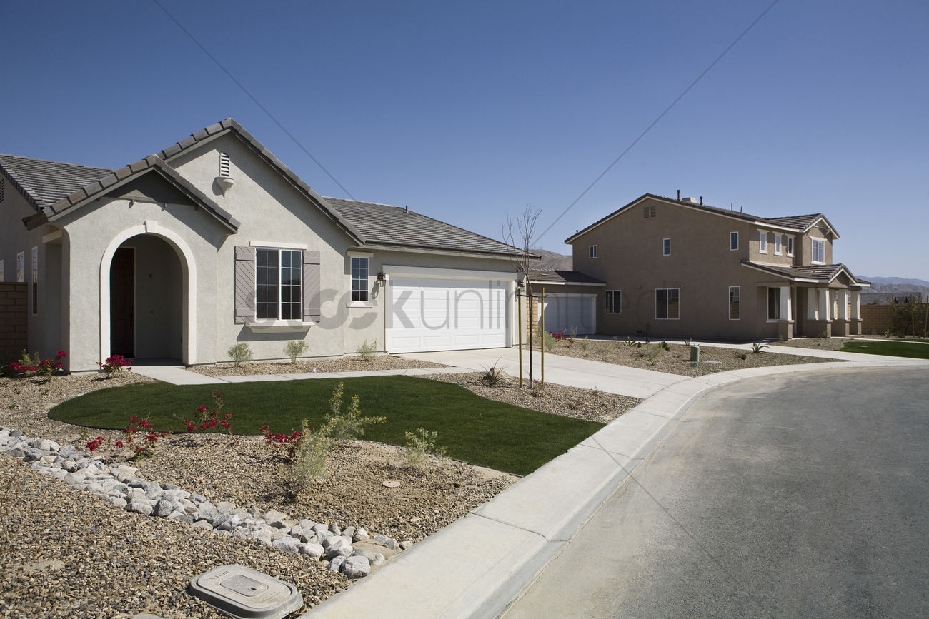 New Houses With Landscaped Yards Stock Photo