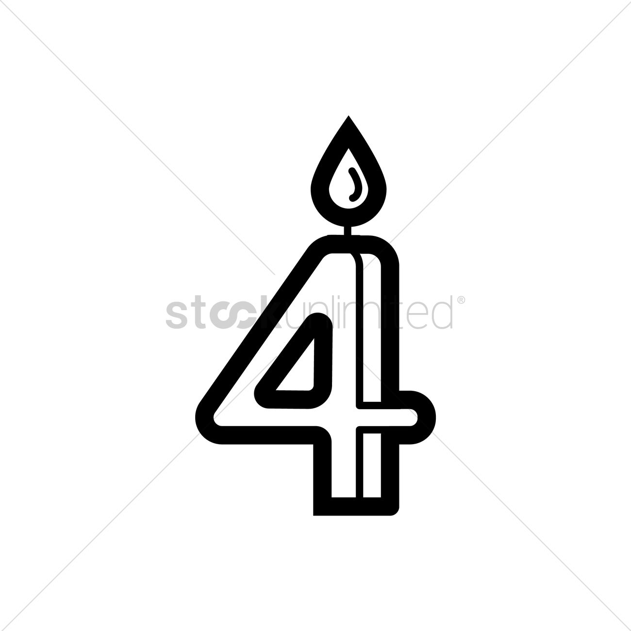 Numbered Birthday Candle Icon Vector Graphic