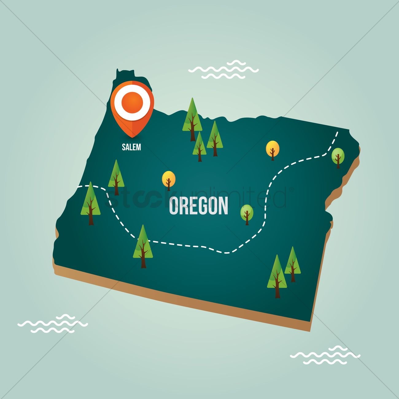 Oregon map with capital city Vector Image   1536719 | StockUnlimited