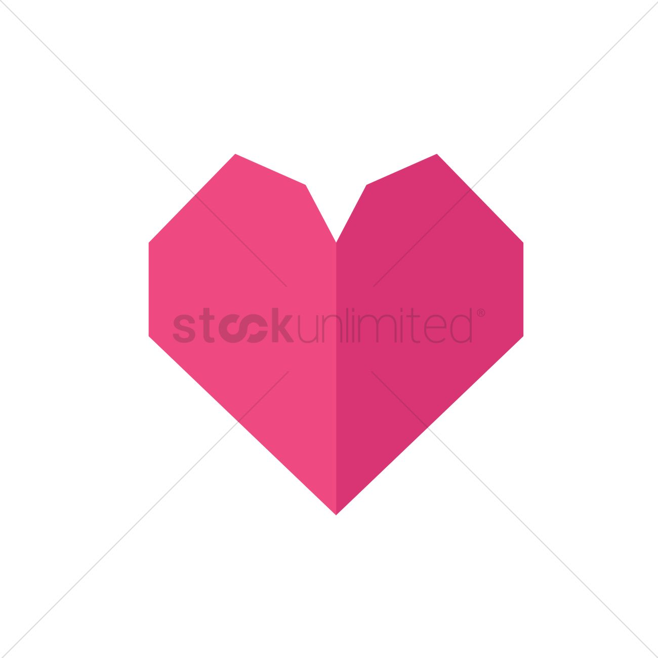 Origami Heart Vector Graphic