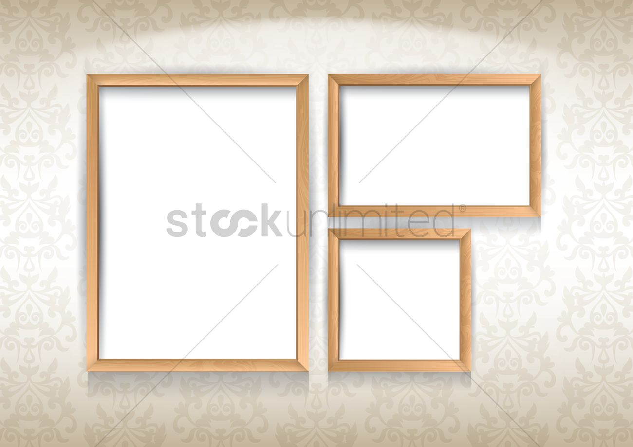 Photo frames on wall Vector Image - 1682467   StockUnlimited