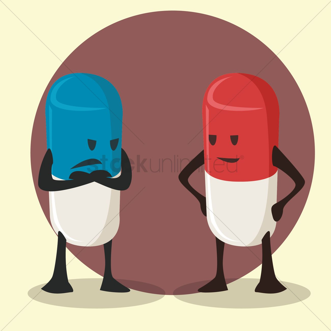 pill cartoon with arms crossed while the other smiles vector image