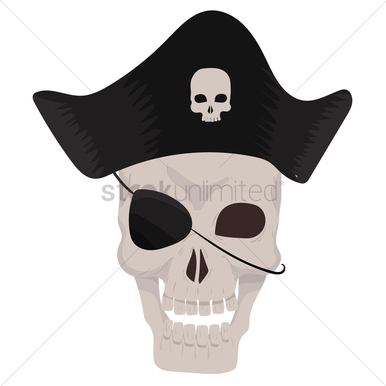 b5447bc60 Free Pirate skull wearing pirate hat Vector Image - 1299979 ...