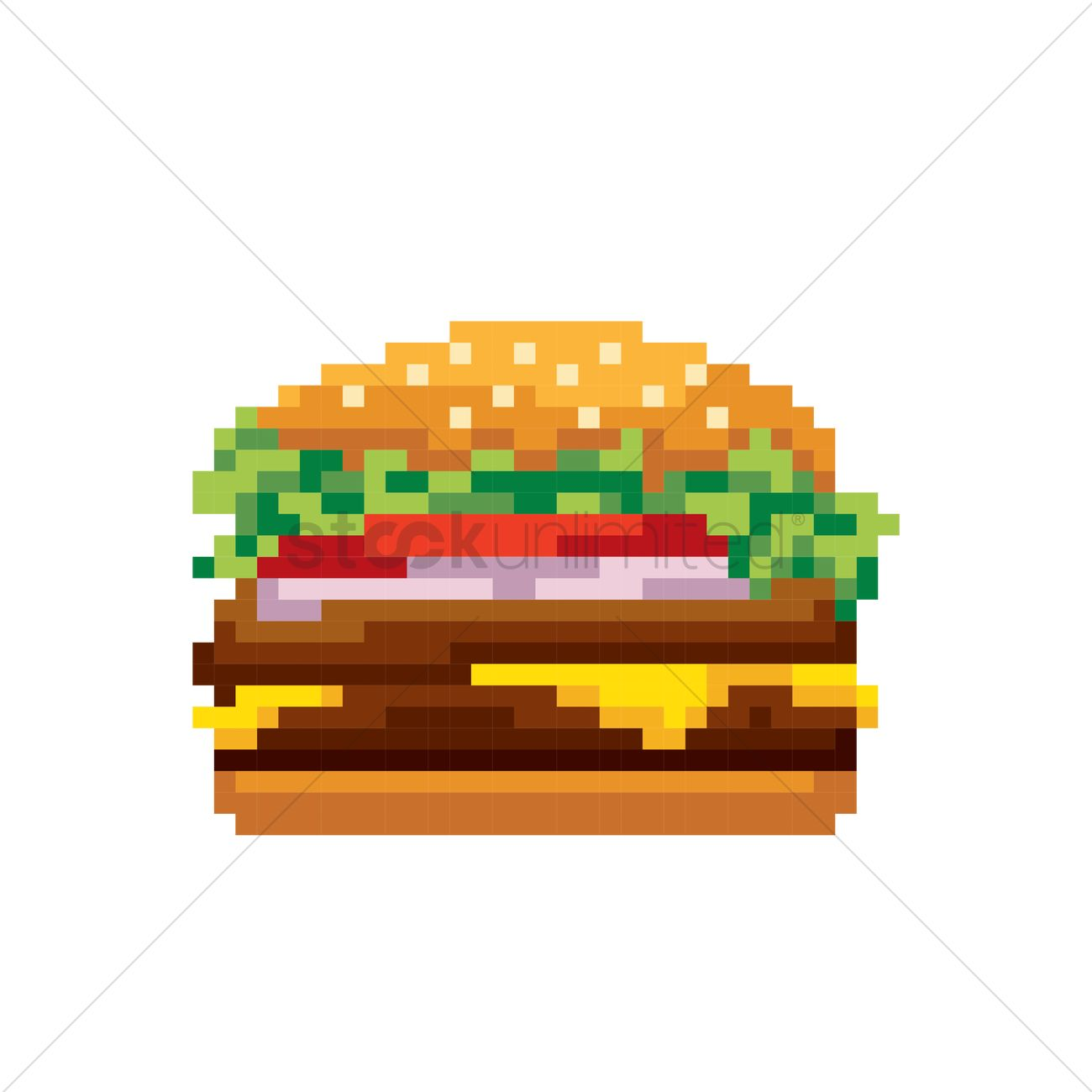 Pixel Art Burger Vector Image 1987367 Stockunlimited