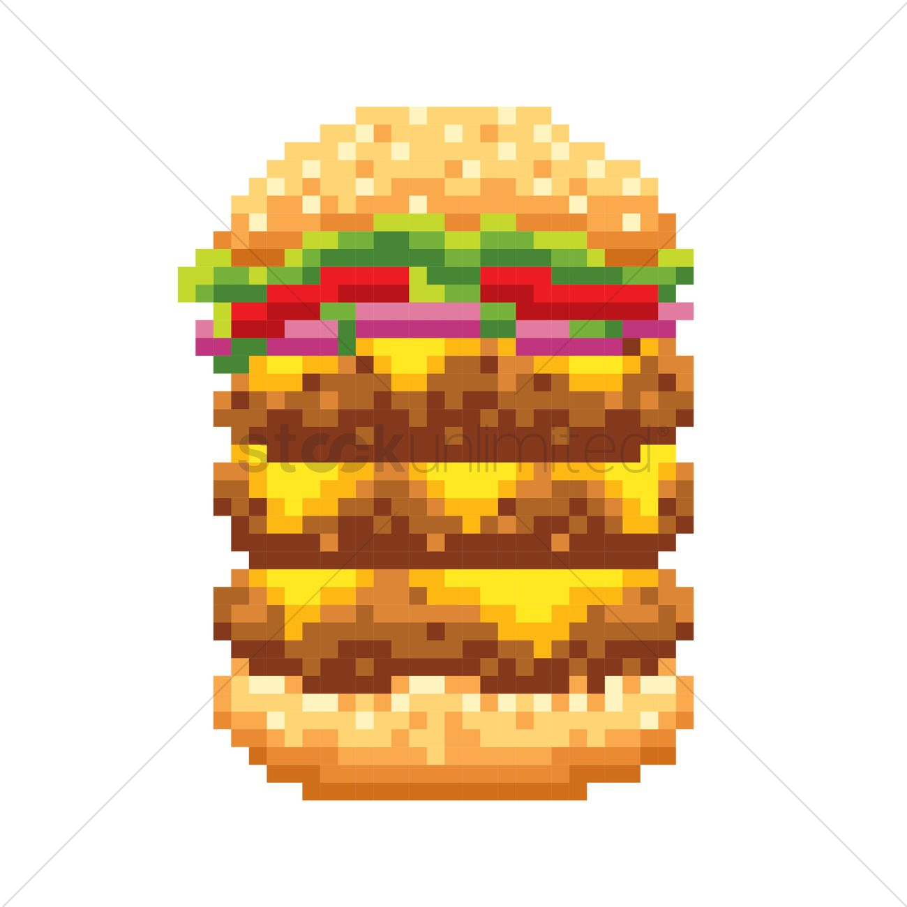Pixel Art Triple Patty Burger Vector Image 1987371