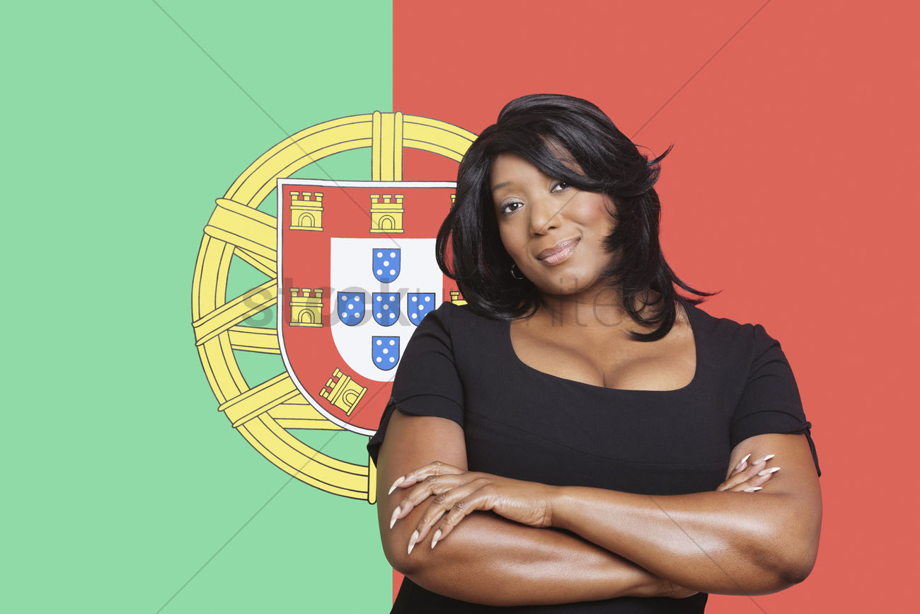Portrait Of Casual Mixed Race Woman Against Portuguese Flag Stock Photo 1922699 Stockunlimited