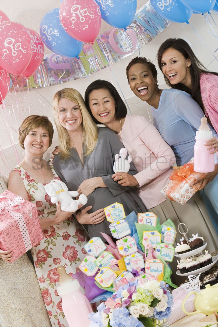 Pregnant Woman With Friends At A Baby Shower Stock Photo 1883291 Stockunlimited