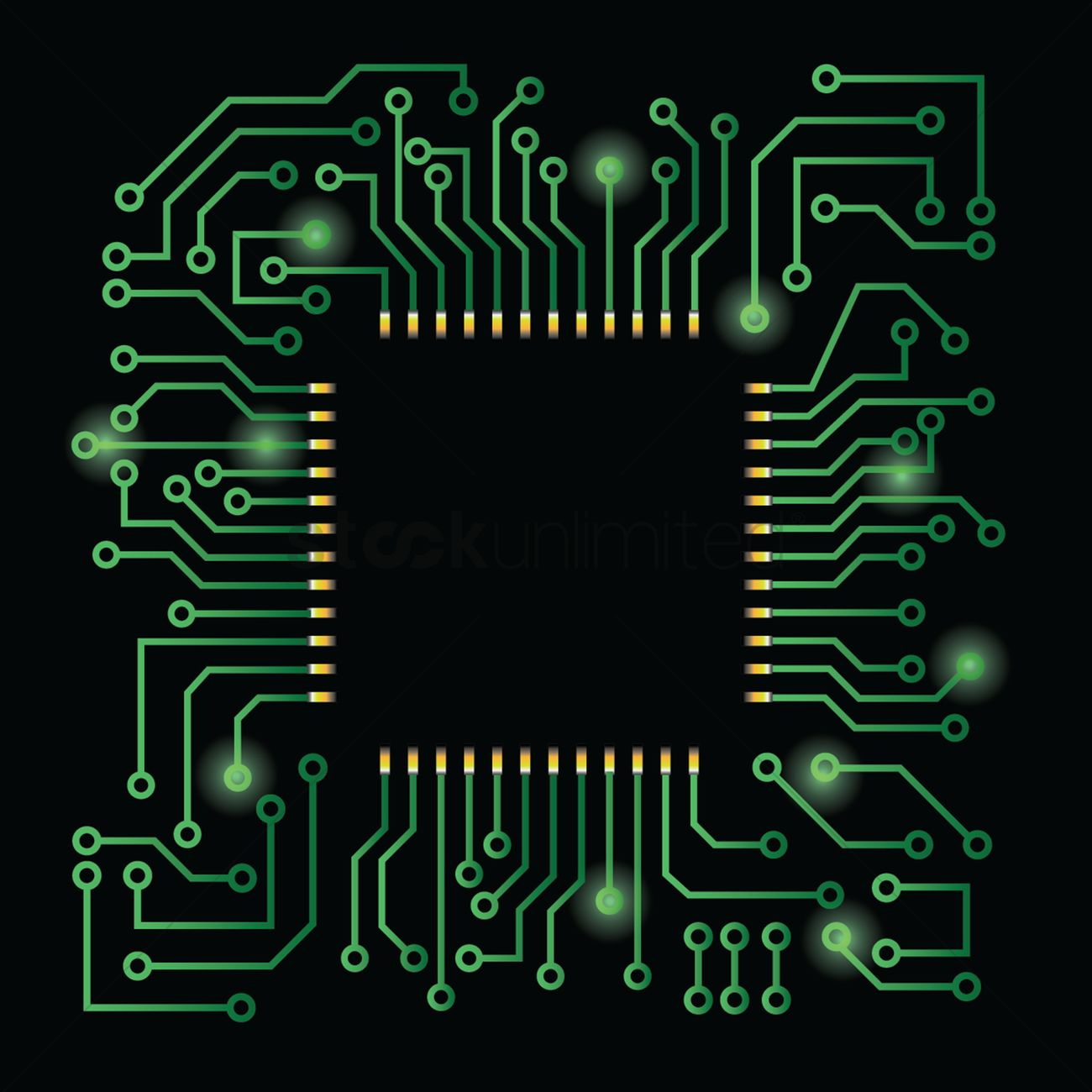 Processor on circuit board design Vector Image - 1646959 ...