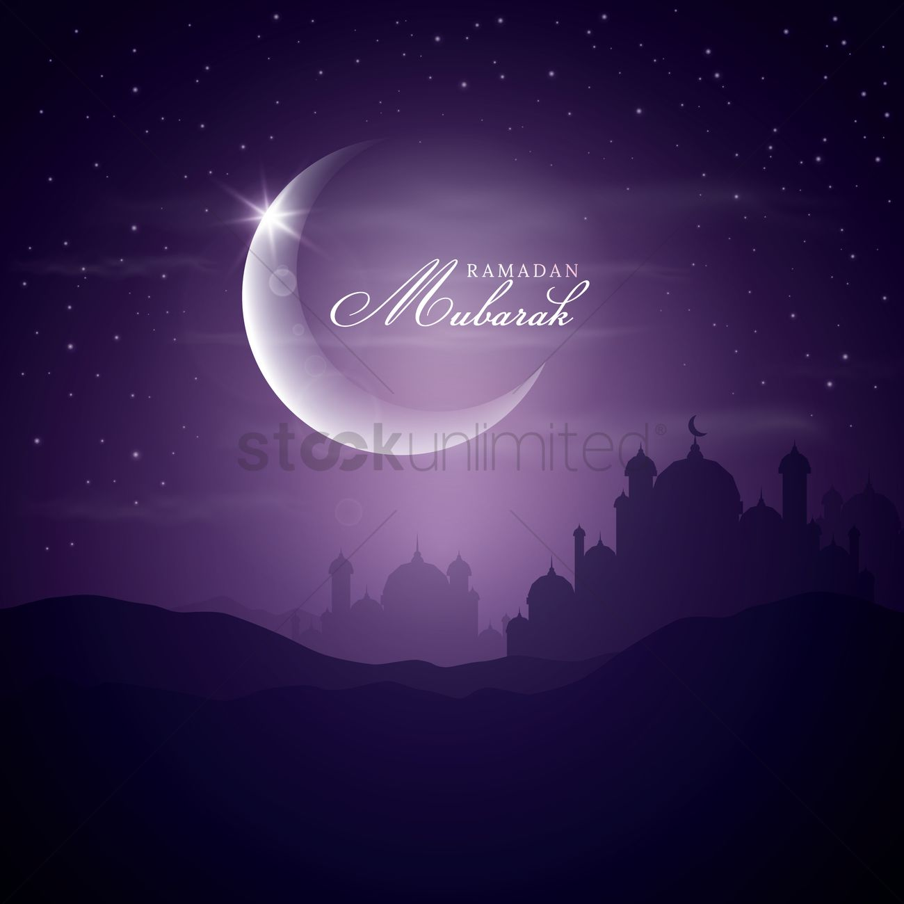 Ramadan Mubarak Greeting Vector Graphic