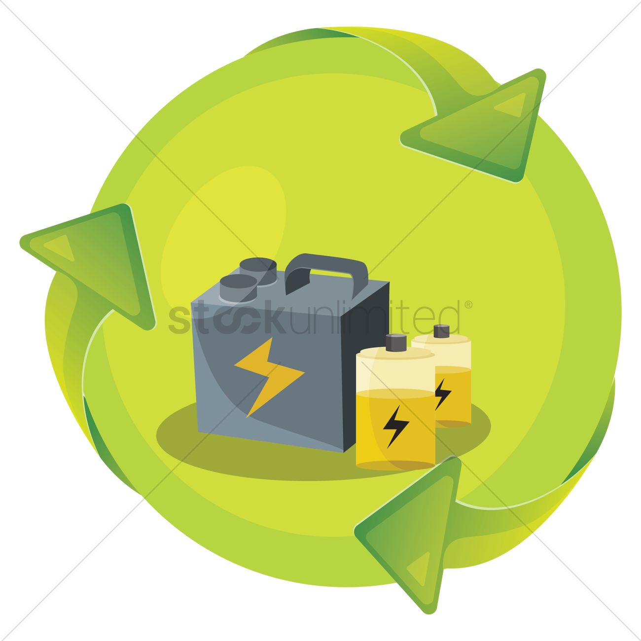 Recycle Old Car Batteries Vector Graphic