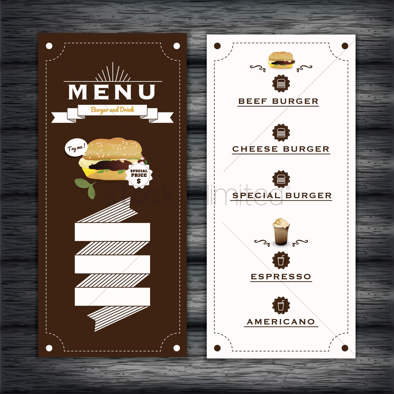 restaurant menu template design vector image 1959999 stockunlimited