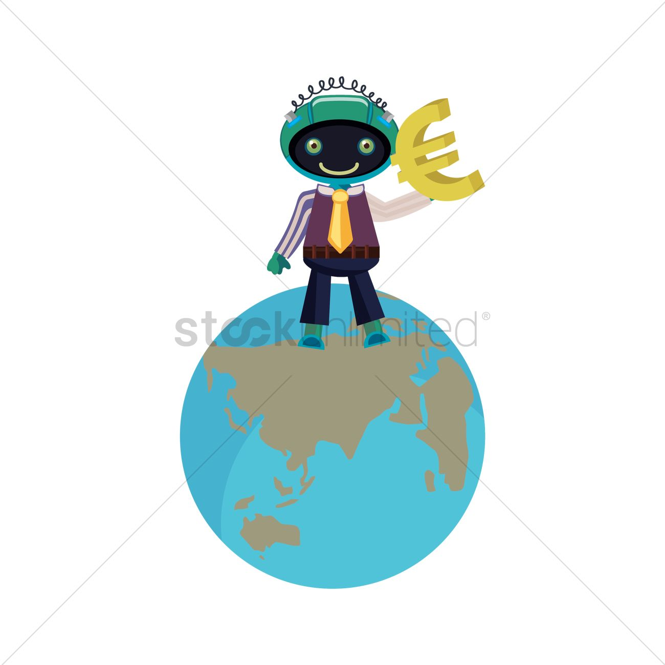 Robot Holding Euro Sign Vector Image 1391323 Stockunlimited