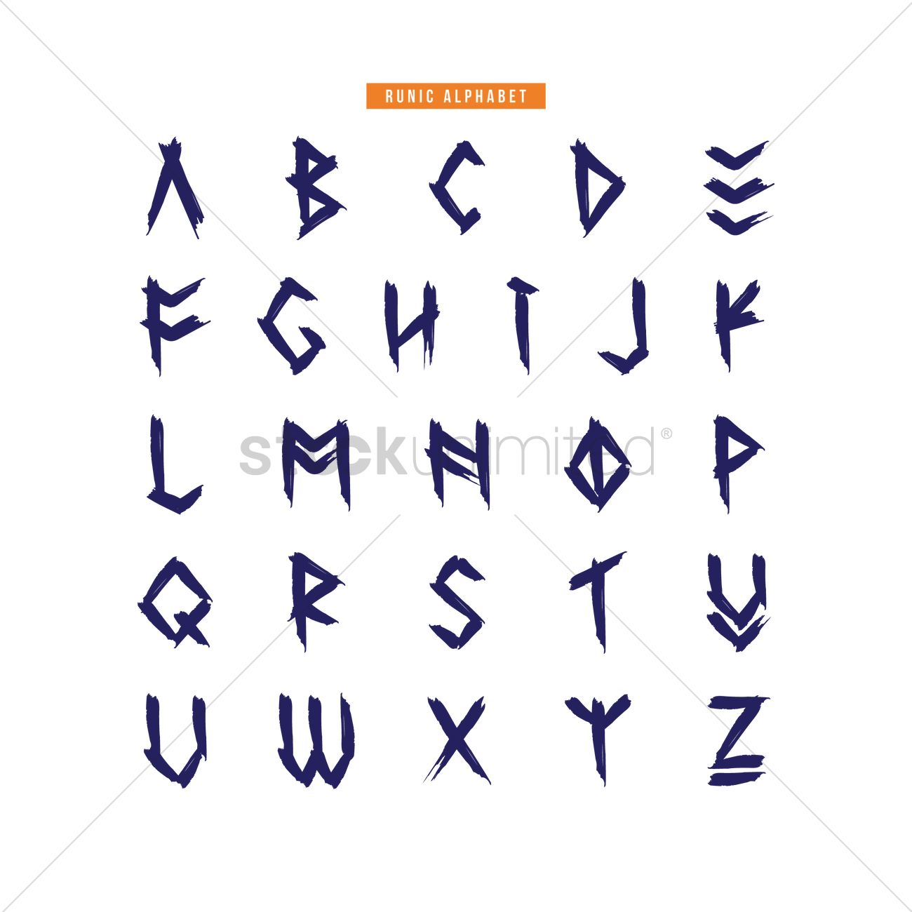 Runic Alphabet Design Vector Graphic