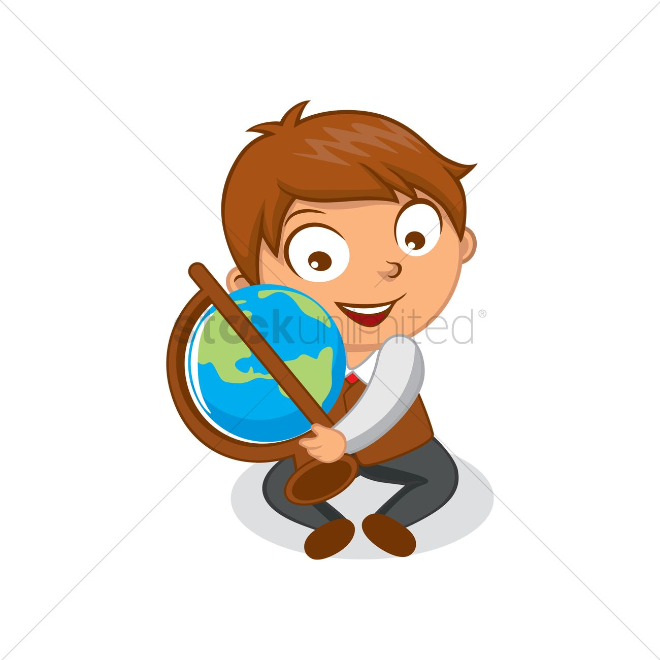 Free School boy holding desk globe Vector Image - 1570311
