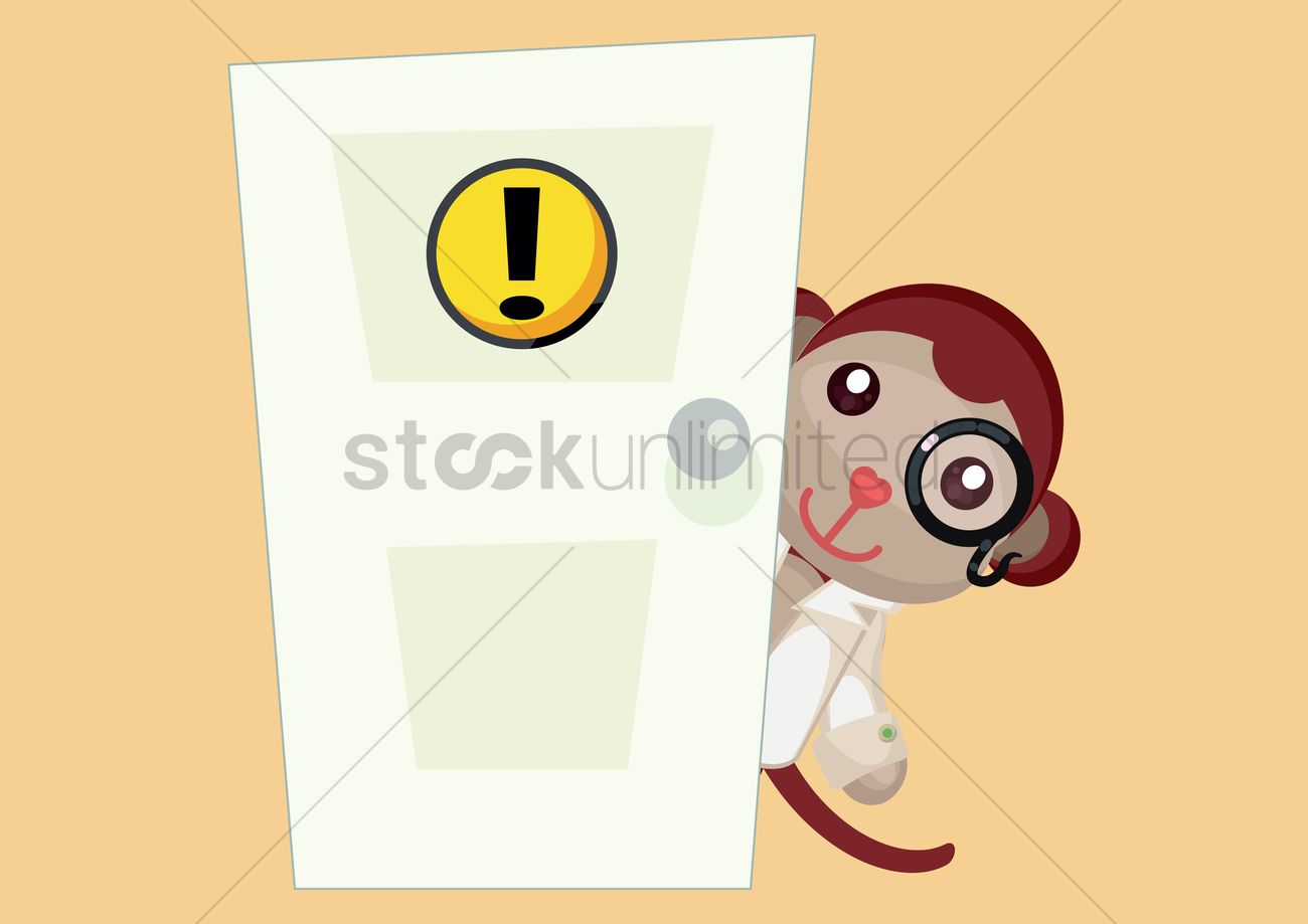 scientist monkey standing behind door vector graphic & Scientist monkey standing behind door Vector Image - 1396711 ...
