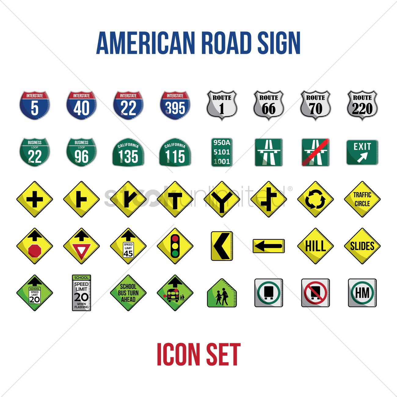 Set Of American Road Signs Vector Graphic