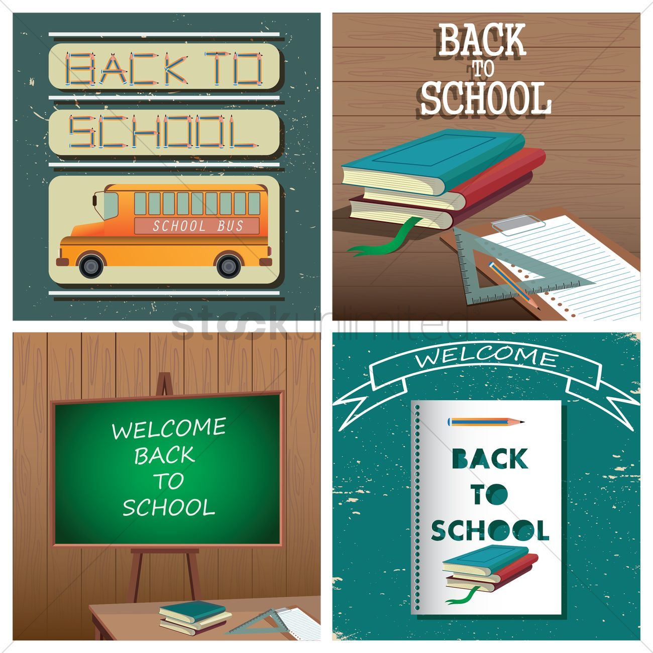 Set of back to school wallpapers Vector Image - 1616659