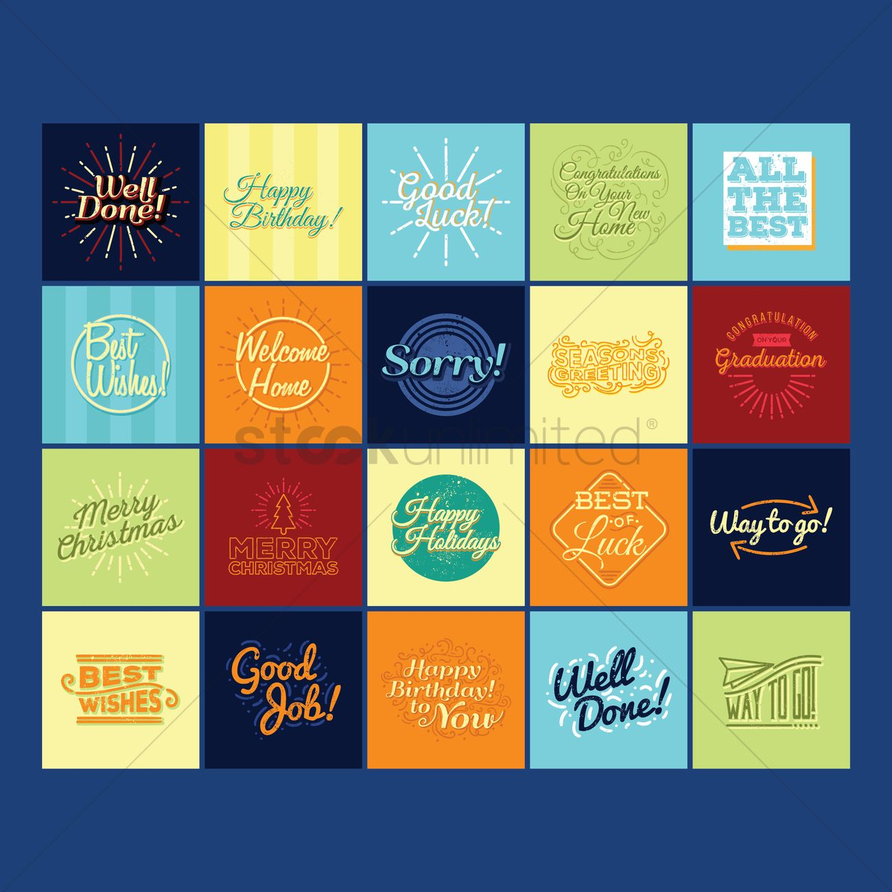 Set Of Greeting Messages Vector Image 1828547 Stockunlimited