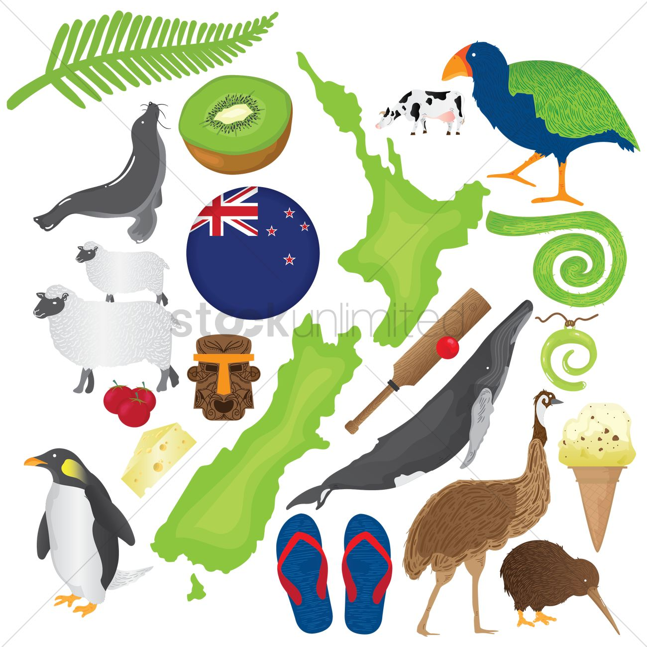 Set Of New Zealand Icons Vector Image 2015291 Stockunlimited