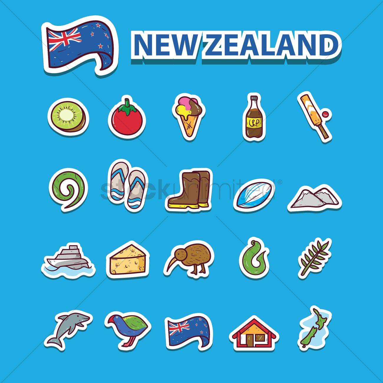 Set Of New Zealand Icons Vector Image 2016867 Stockunlimited