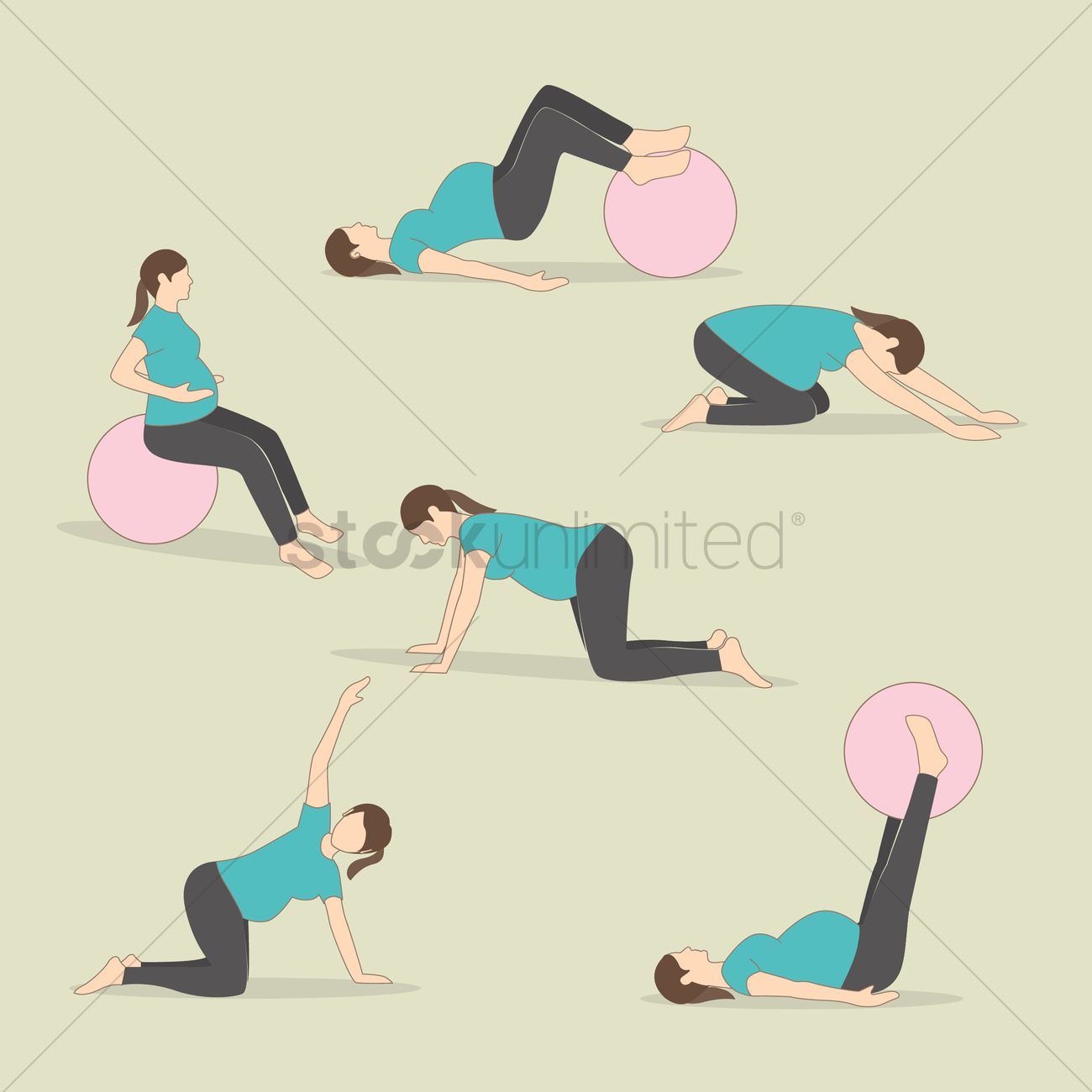 Set of pregnancy exercises Vector Image - 1971111 | StockUnlimited