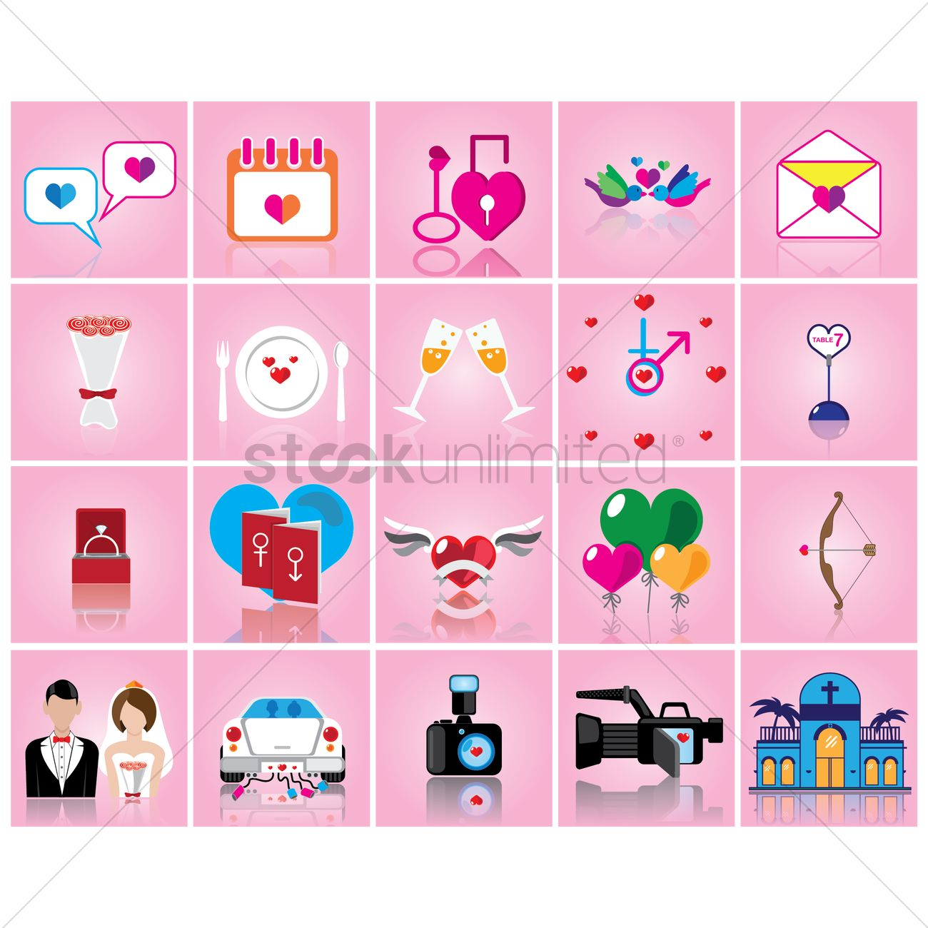 Set of wedding theme icons vector image 1456867 stockunlimited set of wedding theme icons vector graphic junglespirit Gallery
