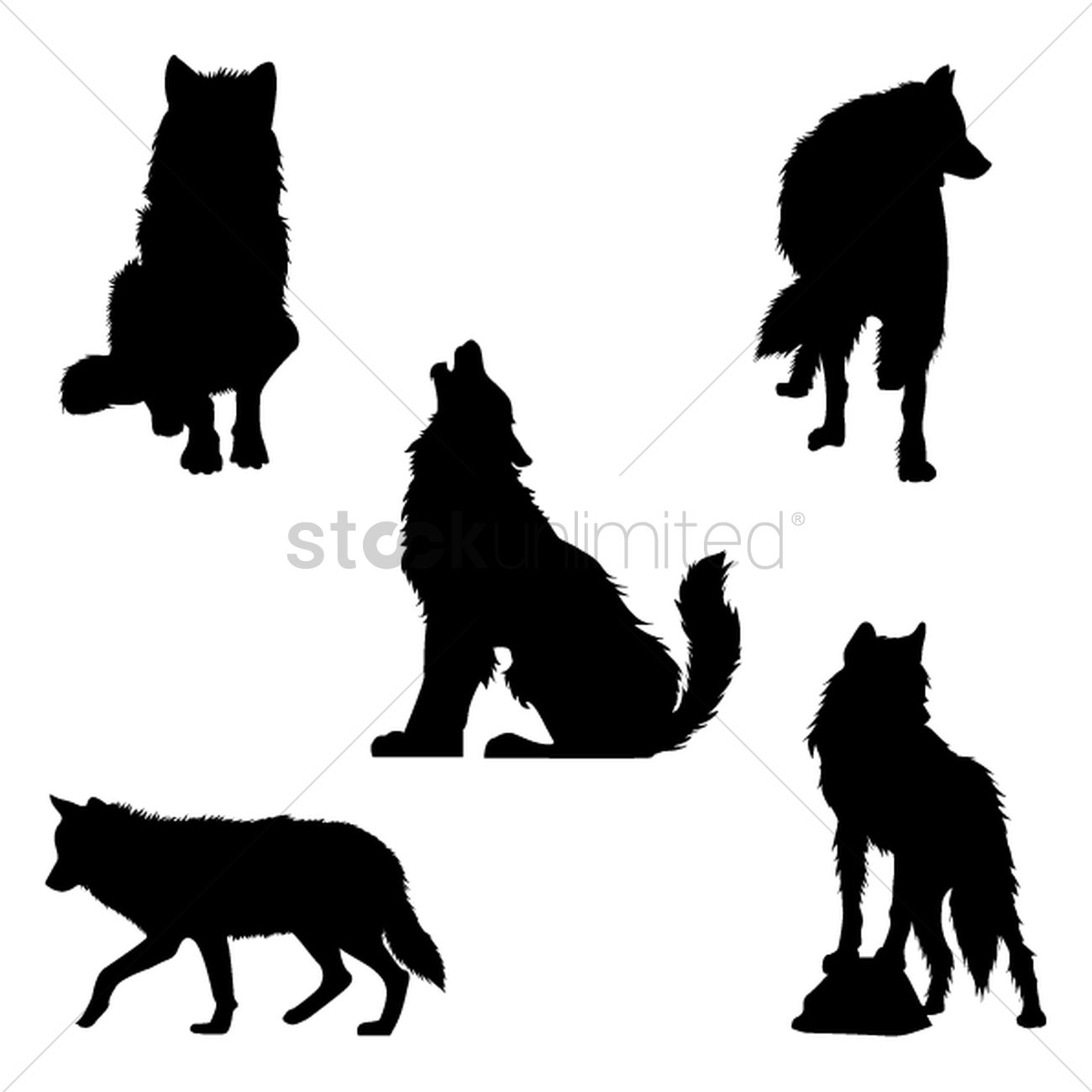 set of wolf silhouettes vector graphic