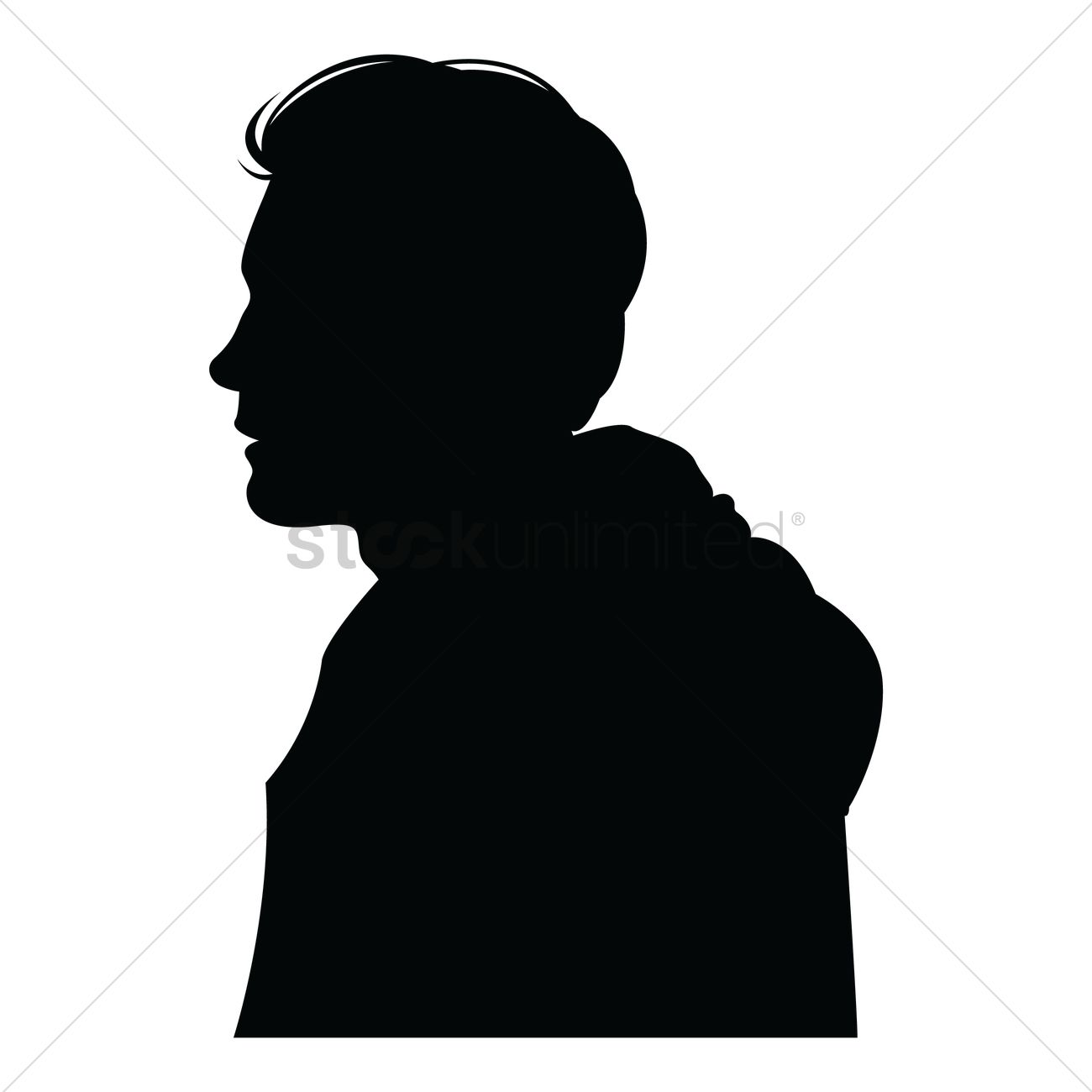 side view of a silhouette man vector graphic
