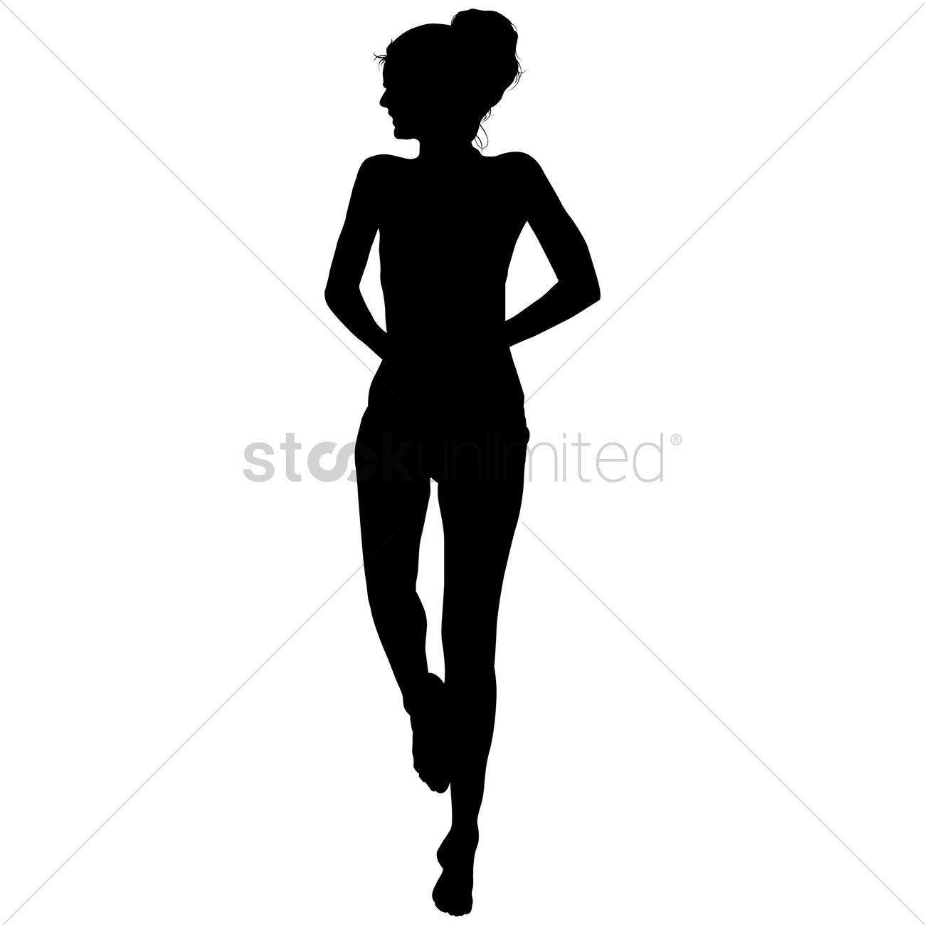 Silhouette of a girl standing Vector Image - 1463719 ...