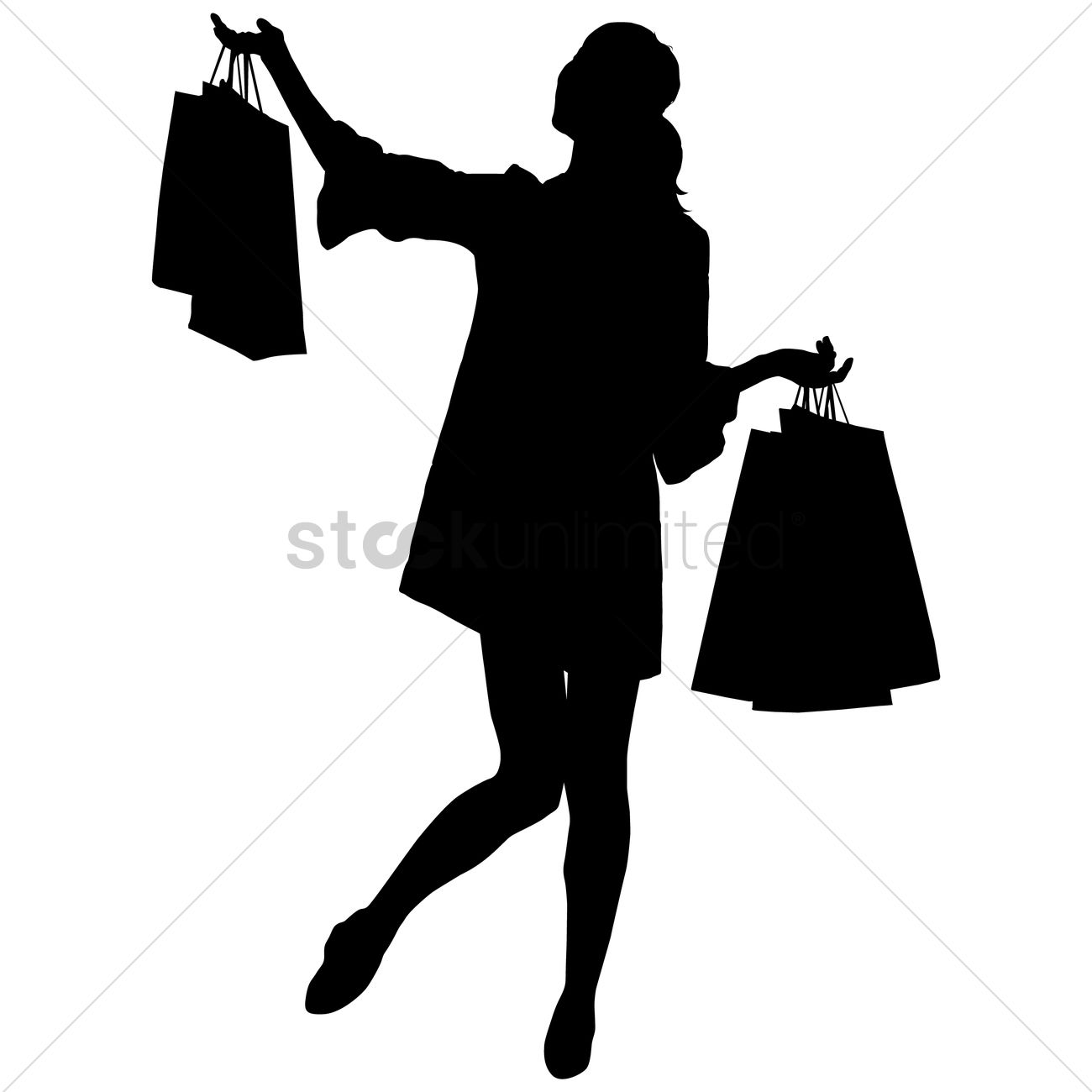 Silhouette of a lady with shopping bags Vector Image - 1456075 ...