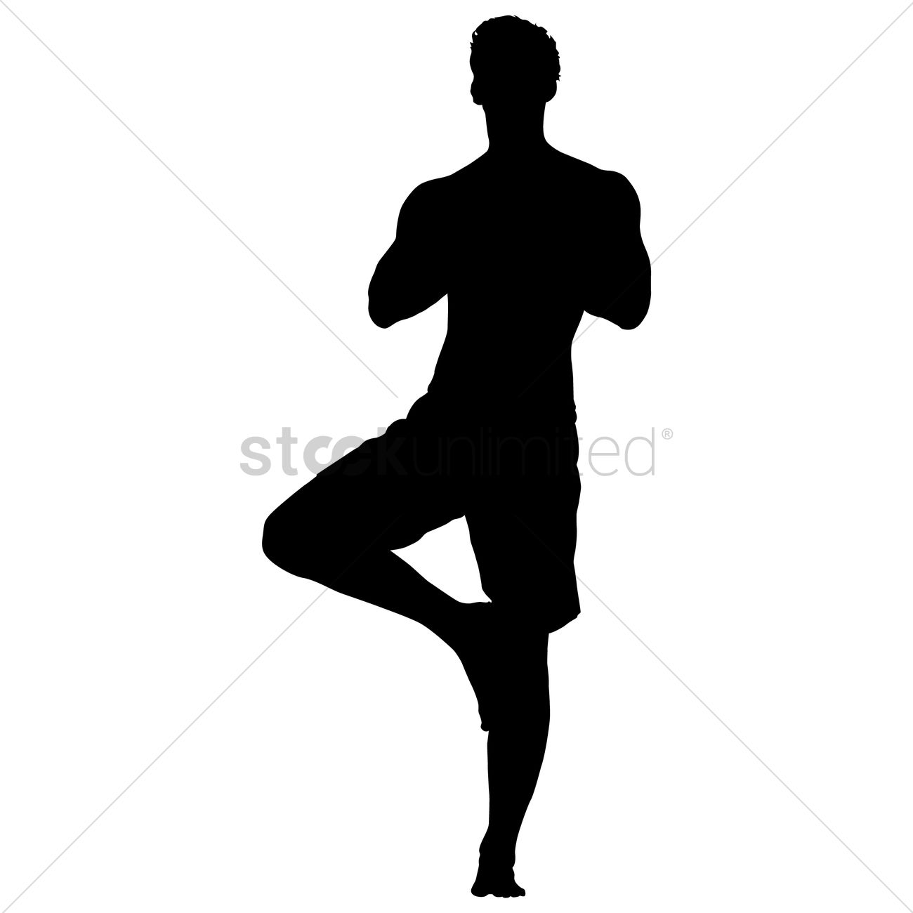 Silhouette Of A Man In Yoga Pose Vector Graphic