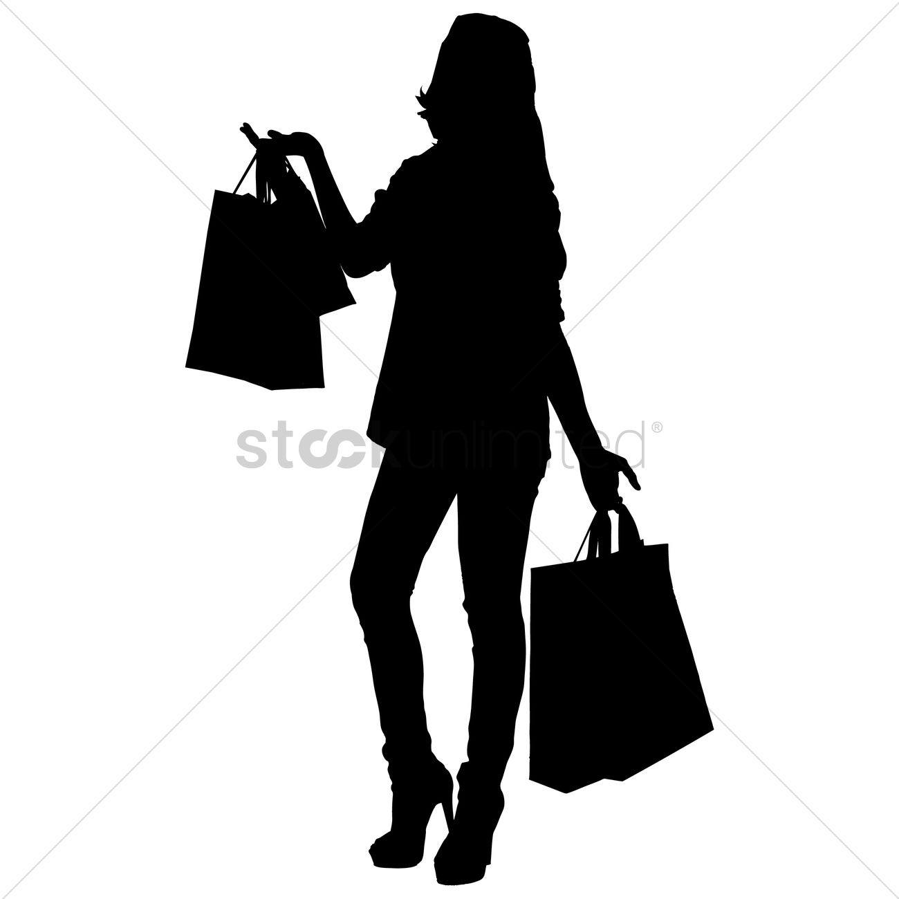 d1da474f08a Silhouette of a woman with shopping bags Vector Image - 1253827 ...