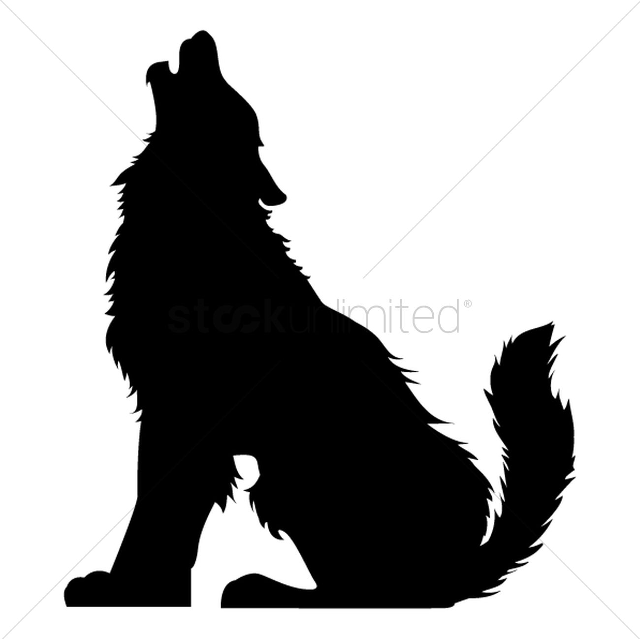 silhouette of howling wolf vector graphic