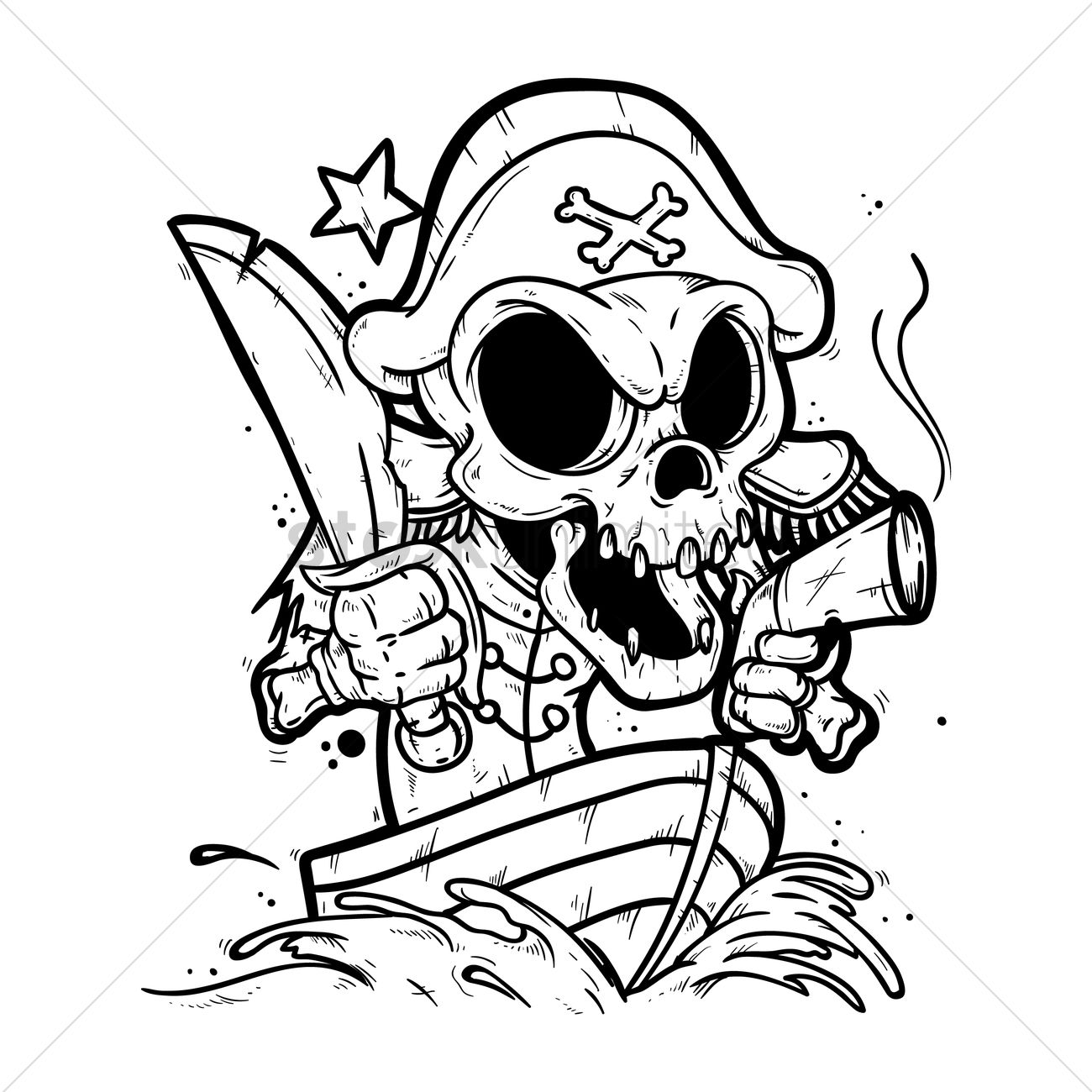 Skeleton Pirate In A Boat Vector Image 1872751 Stockunlimited Ship Diagram With Labels Google Search Pirates Ships Graphic