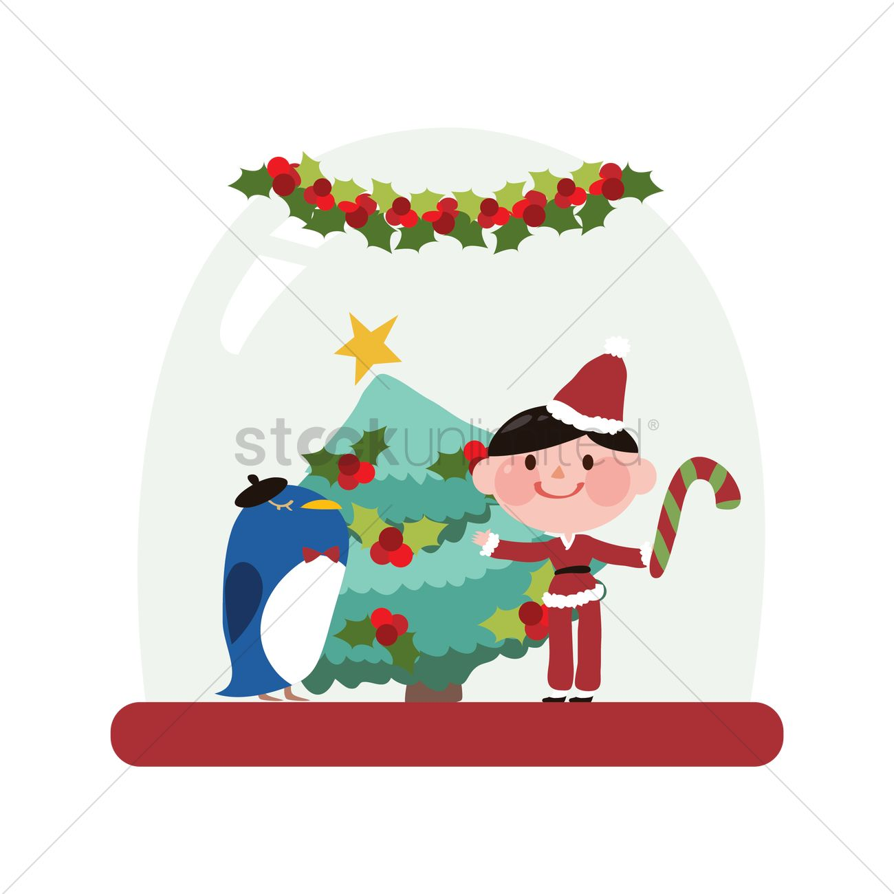 Snow Globe With Christmas Treeboy And Bird Vector Graphic