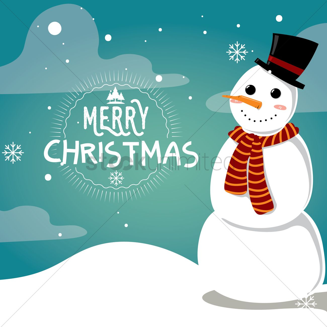 Snowman christmas card design Vector Image - 1745635 | StockUnlimited