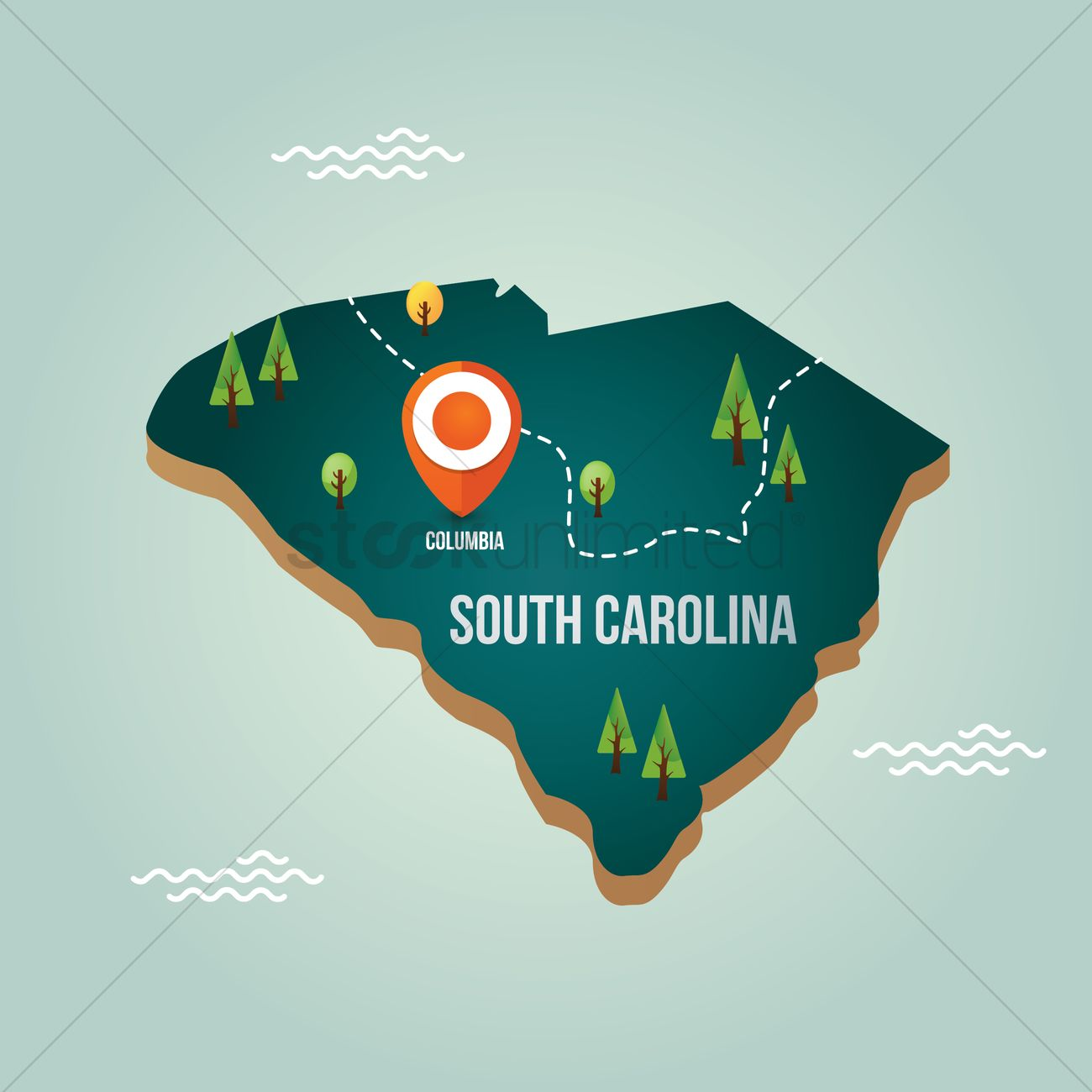 South carolina map with capital city Vector Image - 1536707 ...