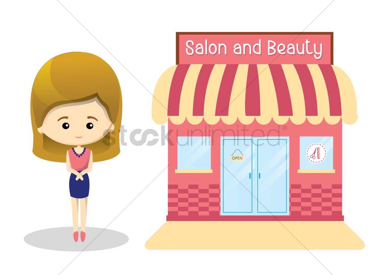 Spa And Beauty Salon With Woman Outside Vector Image 1418071 Stockunlimited