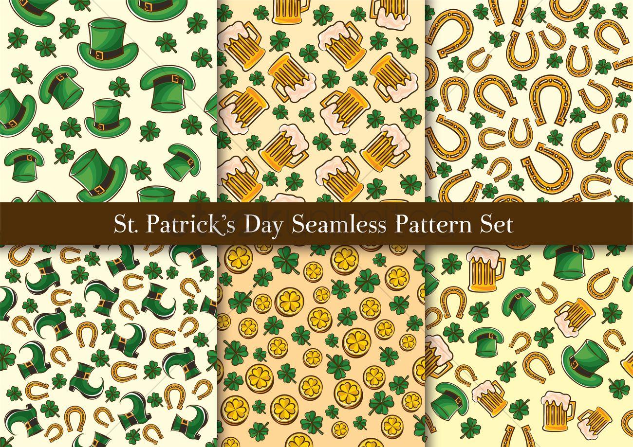 St Patricks Day Seamless Pattern Set Vector Image