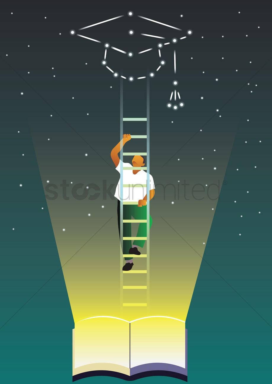 Student climbing ladder to reach mortarboard in the sky Vector ... for Student Climbing Ladder  575lpg