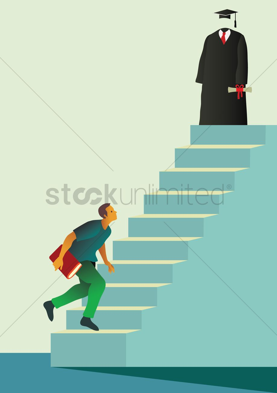 Student climbing staircase to graduation Vector Image - 1982987 ... for Student Climbing Ladder  56mzq
