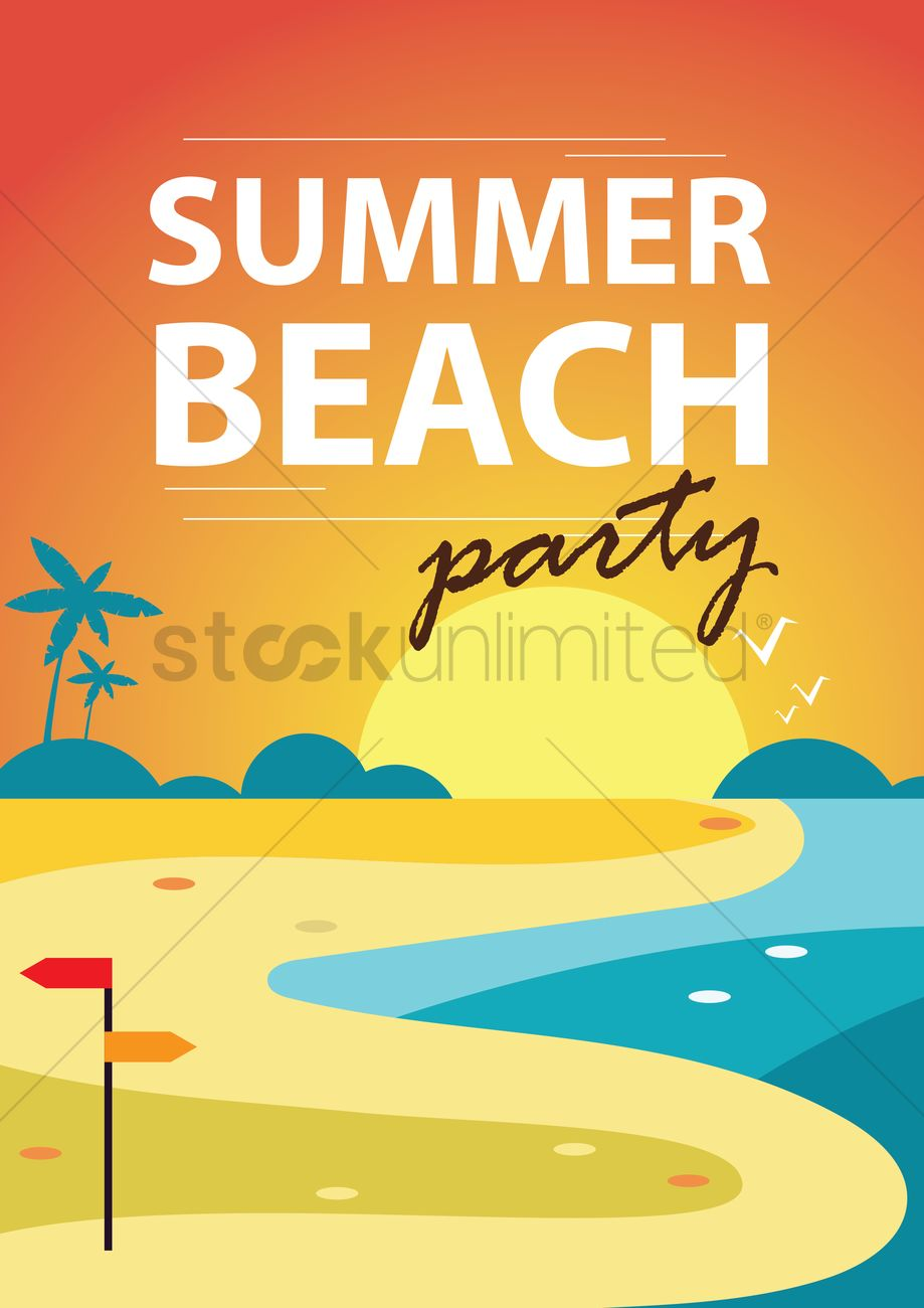 Poster design vector graphics - Summer Beach Party Poster Design Vector Graphic