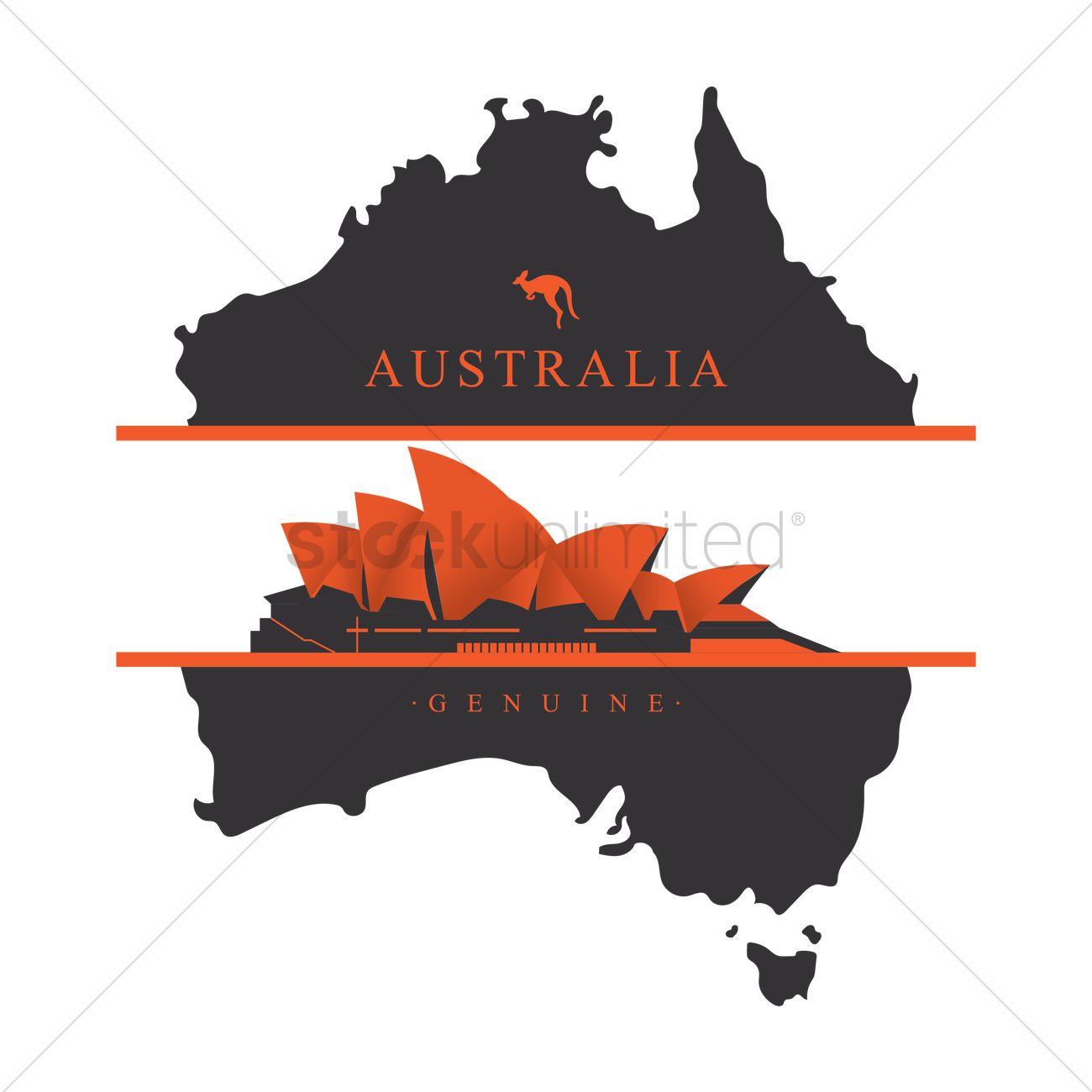 Sydney opera house on australia map label Vector Image