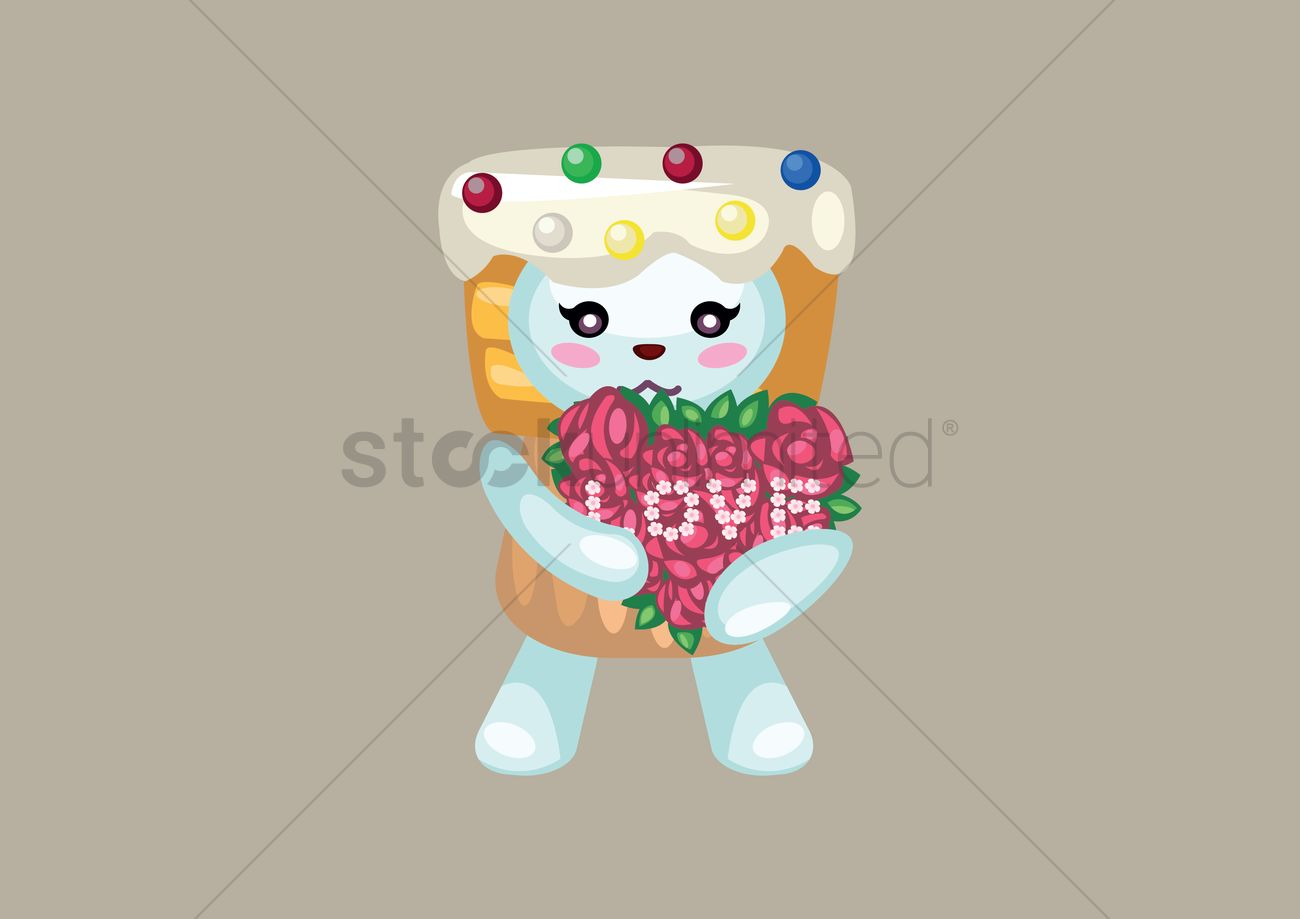 Teddy Bear In Cupcake Costume With Bouquet Of Flowers Vector Image