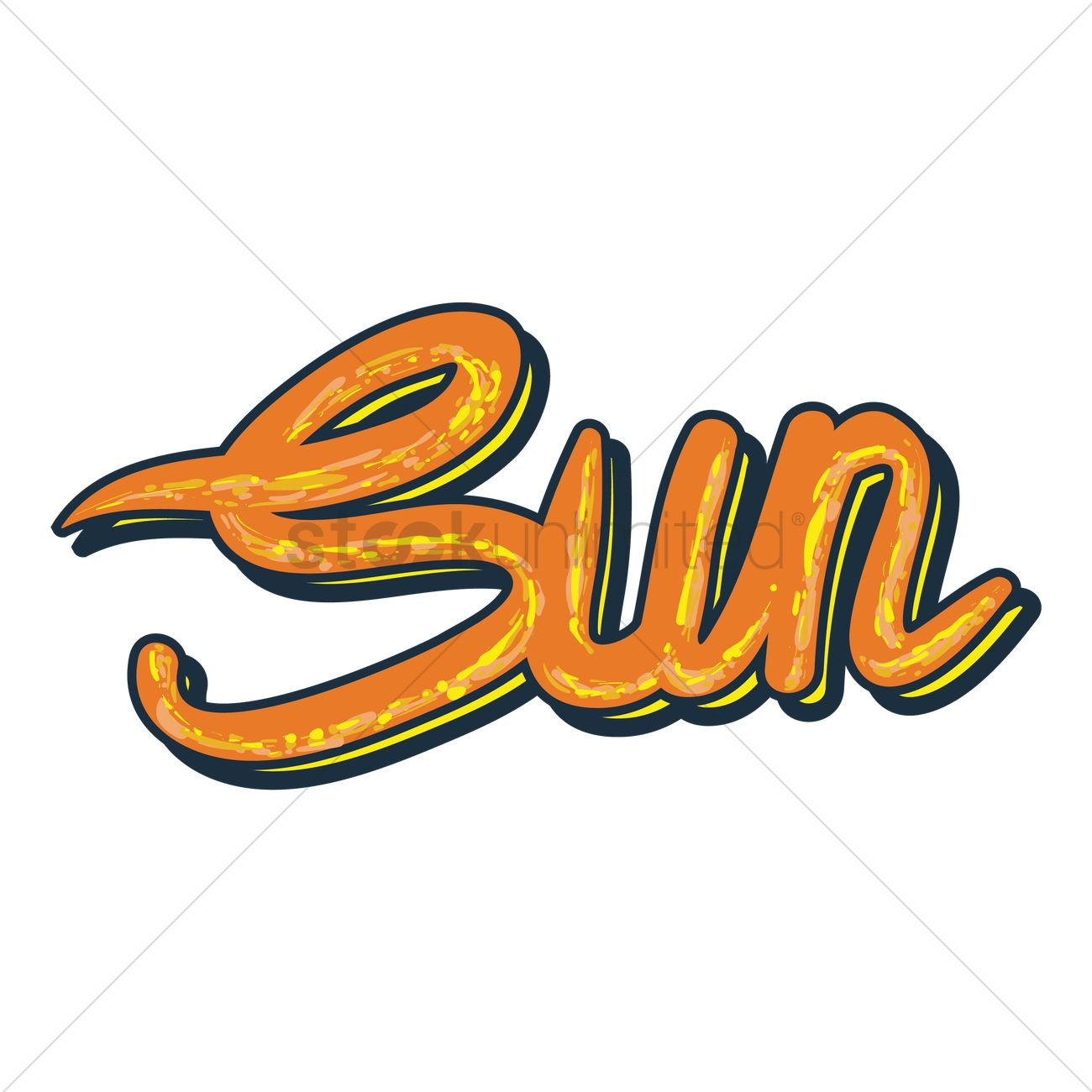 text with the word sun vector graphic