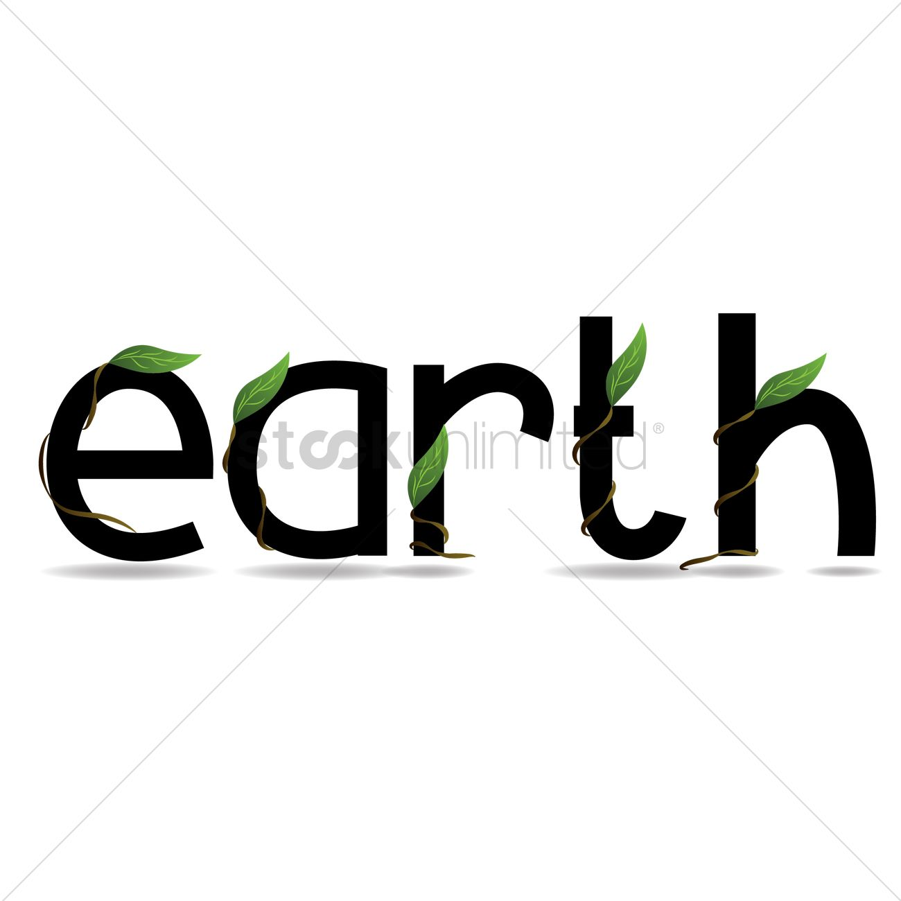 the word earth with climbing plant around it vector image 1477407