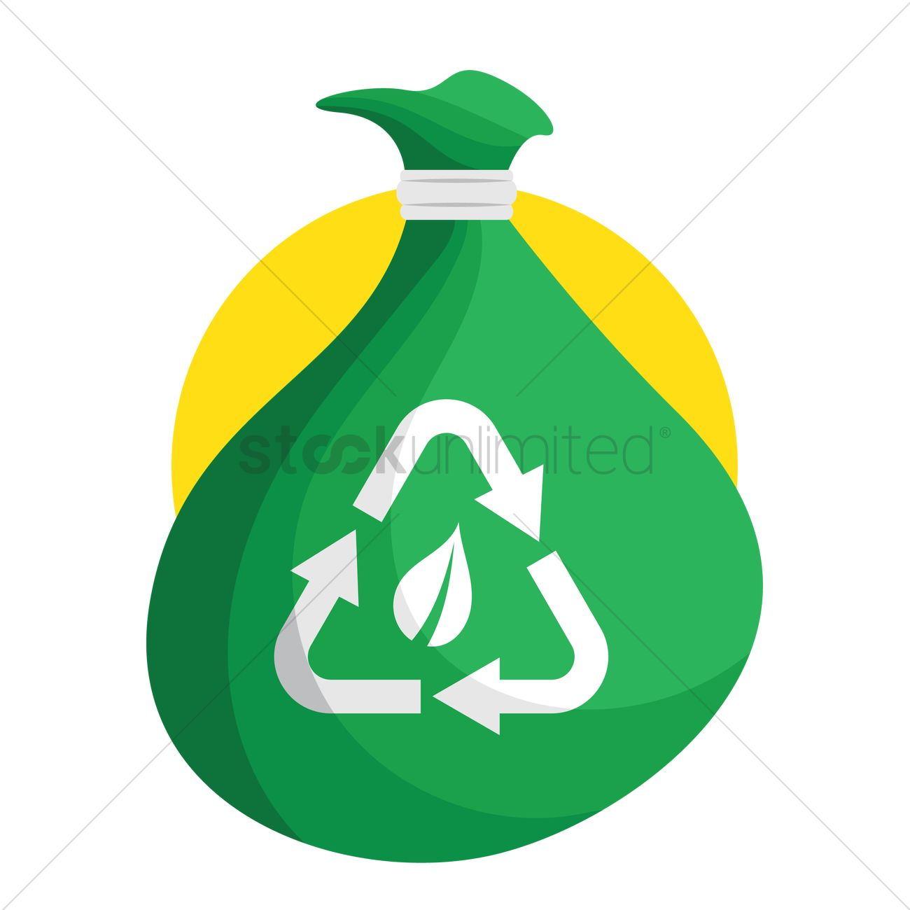Free Trash Bag With Recycling Sign Vector Graphic