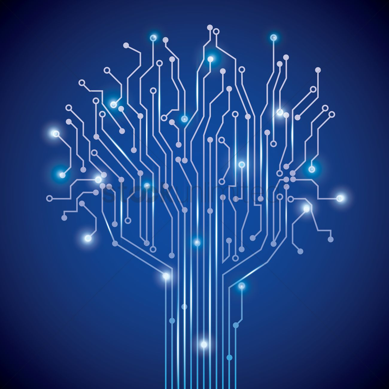Tree Design On Circuit Board Wallpaper Vector Image