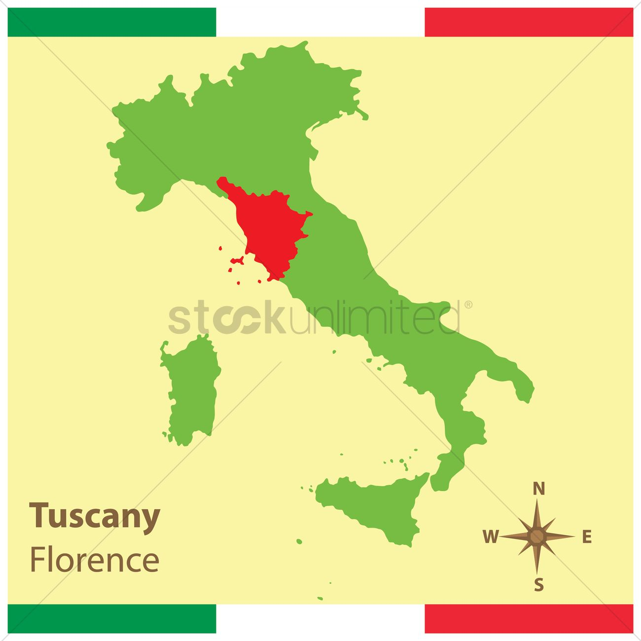 Tuscany on italy map Vector Image - 1583943 | StockUnlimited